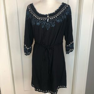 Lucky brand dress peasant Embroidered black small